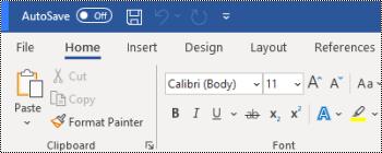 Γραμμή εργαλείων γρήγορης πρόσβασης επάνω από την κορδέλα στο Word για Windows.