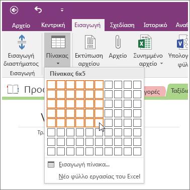 Στιγμιότυπο οθόνης του τρόπου προσθήκης πίνακα στο OneNote 2016.