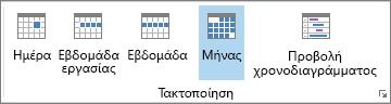 """Ομάδα """"Τακτοποίηση"""" στην Κεντρική καρτέλα: ημέρα, εβδομάδα, εβδομάδα εργασίας, μήνας και χρονοδιάγραμμα"""