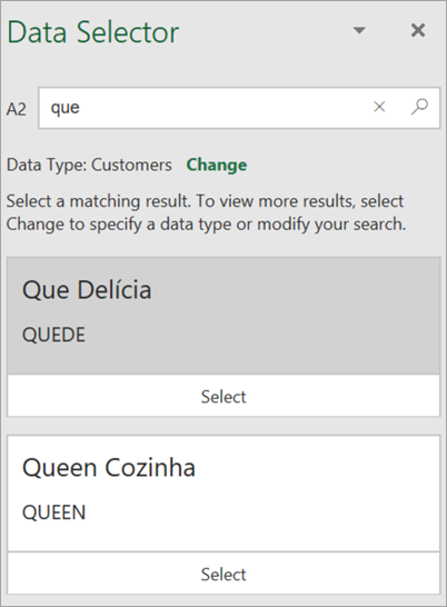 """Στιγμιότυπο οθόνης του παραθύρου """"Επιλογέας δεδομένων""""."""