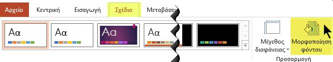 """Το κουμπί """"Μορφοποίηση φόντου"""" βρίσκεται στην καρτέλα """"Σχεδίαση"""" της κορδέλας του PowerPoint"""