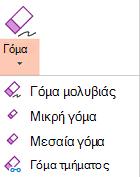 Το PowerPoint για Office 2019 διαθέτει τέσσερις γόμες για την ψηφιακή γραφή.