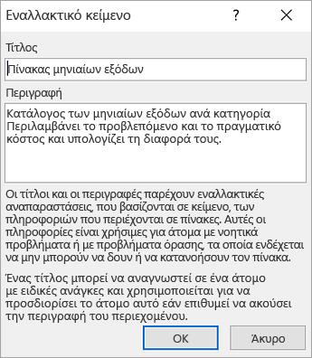 """Στιγμιότυπο οθόνης του παραθύρου διαλόγου """"Εναλλακτικό κείμενο"""""""