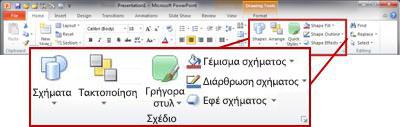 """Η ομάδα """"Σχεδίαση"""" στην """"Κεντρική"""" καρτέλα της κορδέλας του PowerPoint 2010."""