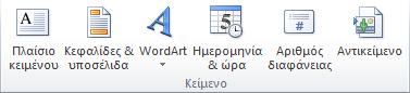 """Η ομάδα """"Κείμενο"""" στην καρτέλα """"Εισαγωγή"""" της Κορδέλας του PowerPoint 2010."""
