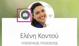 Κάντε κλικ στο εικονίδιο κάμερας για να αλλάξετε τη φωτογραφία σας