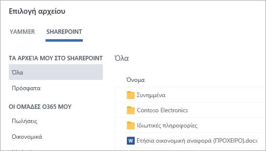 Λίστα αρχείων του SharePoint
