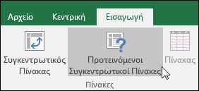 """Μεταβείτε στην """"Εισαγωγή"""" > """"Προτεινόμενοι Συγκεντρωτικοί Πίνακες"""" για να ζητήσετε από το Excel να δημιουργήσει έναν Συγκεντρωτικό Πίνακα για εσάς"""