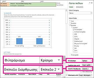 """Η αναφορά """"Επισκόπηση έργου"""" με το παράθυρο """"Δεδομένα γραφήματος"""" ανοιχτό"""