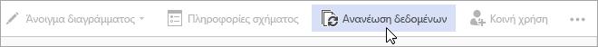 Επιλογή ανανέωσης δεδομένων δημόσιας προεπισκόπησης του Visio Online