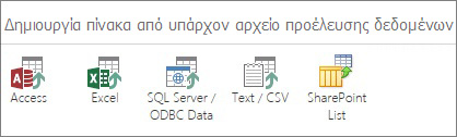 Επιλογές για τα αρχεία προέλευσης δεδομένων: Access, Excel, SQL Server/Δεδομένα ODBC, Κείμενο/CSV, Λίστα του SharePoint.
