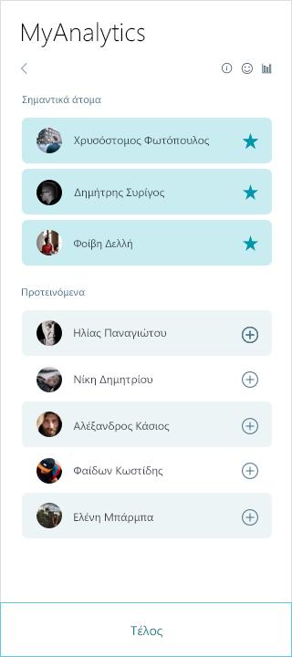 Στιγμιότυπο οθόνης της σημαντικές MyAnalytics λίστα ατόμων