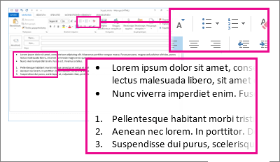 Παραδείγματα λιστών με αρίθμηση ή κουκκίδες σε μήνυμα