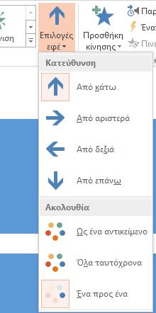 """Κουμπί """"Επιλογές εφέ"""" στην ομάδα """"Κίνηση"""""""