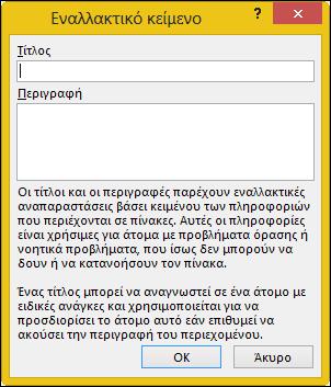 Εναλλακτικό κείμενο διαλόγου στο Excel