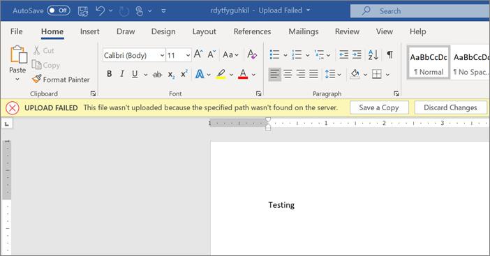 """Στιγμιότυπο οθόνης του σφάλματος """"η αποστολή απέτυχε κατά την επεξεργασία ενός εγγράφου στο Word"""""""