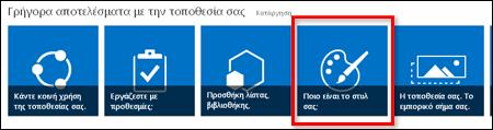 Στιγμιότυπο οθόνης της νέας τοποθεσίας του SharePoint online που εμφανίζει εικονίδια για την περαιτέρω προσαρμογή της τοποθεσίας