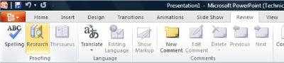 Review Tab, Research button
