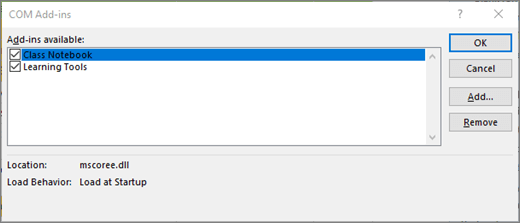 Το παράθυρο πρόσθετα COM με επιλεγμένο το πλαίσιο ελέγχου και το Σημειωματάριο τάξης. Κουμπιά για OK, ακύρωση, προσθήκη και κατάργηση.