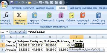 Χρήση Αυτόματης Άθροισης για γρήγορη προσθήκη γραμμής δεδομένων