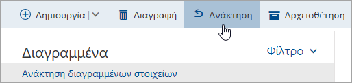 """Ένα στιγμιότυπο οθόνης από το κουμπί """"Ανάκτηση"""""""