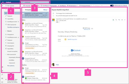 Στιγμιότυπο οθόνης του περιβάλλοντος εργασίας Αλληλογραφίας