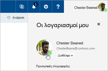 Ένα στιγμιότυπο οθόνης του κουμπιού για την αλλαγή της φωτογραφίας που εμφανίζεται στην ανταλλαγή άμεσων μηνυμάτων