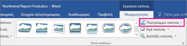 """Η επιλογή """"Περίγραμμα εικόνας"""" επισημαίνεται στην καρτέλα """"Μορφοποίηση/Εργαλεία εικόνας"""""""