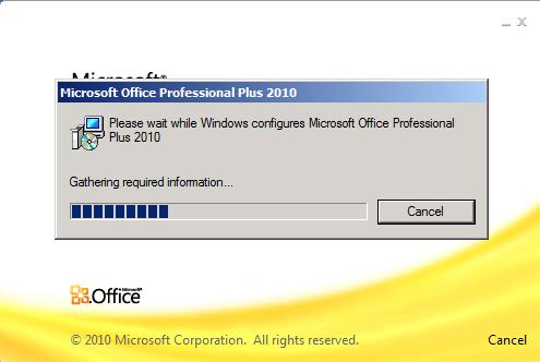 Microsoft Office Professional Plus 2010 Configuration Progress dialog