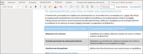Μορφοποίηση κειμένου στο Word Online