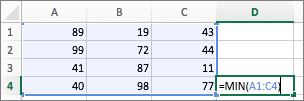 Παράδειγμα εμφάνισης της χρήσης της συνάρτησης MIN