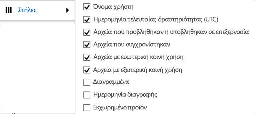 Στήλες της αναφοράς δραστηριότητας του OneDrive για επιχειρήσεις