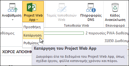 """Στην Κορδέλα, κάντε κλικ στην επιλογή Project Web App και, στη συνέχεια, επιλέξτε """"Κατάργηση""""."""