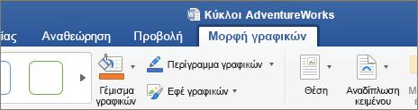 """Μια εικόνα SVG επιλεγμένη, ενεργοποιεί την καρτέλα """"μορφοποίηση γραφικών"""" στην κορδέλα"""