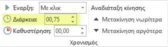 Η επιλογή 'Διάρκεια' για τα εφέ κίνησης στο PowerPoint