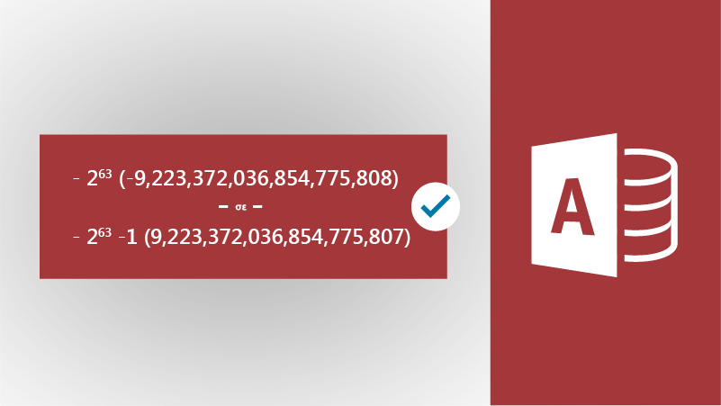 Εικόνα με εικονίδιο της Access και μεγάλους αριθμούς
