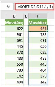 Ταξινομήστε μια περιοχή τιμών σε φθίνουσα σειρά.