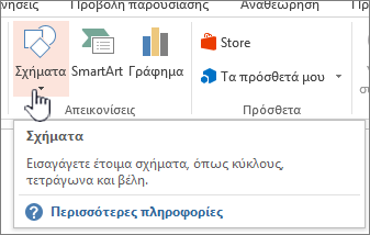 Κουμπί εισαγωγής σχημάτων του PowerPoint