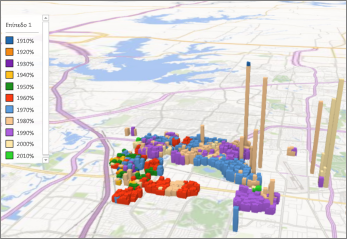 Το Power Map με το προεπιλεγμένο θέμα
