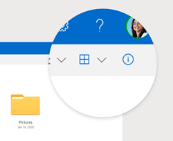 Το κουμπί πληροφοριών για το OneDrive λεπτομερειών.