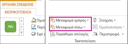 """Επιλογές """"Μεταφορά εμπρός"""" και """"Μεταφορά πίσω"""" στην καρτέλα """"Εργαλεία σχεδίασης"""""""
