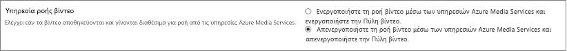 Ρύθμιση απενεργοποίησης του Βίντεο Office 365 στο κέντρο διαχείρισης του SharePoint Online