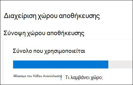 """Το παράθυρο """"Διαχείριση χώρου αποθήκευσης"""" του OneDrive προβάλλει τον συνολικό χώρο που χρησιμοποιείται, τον κάδο ανακύκλωσης και την επιλογή προβολής μεγάλων αρχείων και φωτογραφιών."""