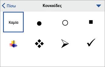 """Εντολή """"Κουκκίδες"""", που εμφανίζει τις επιλογές μορφοποίησης"""