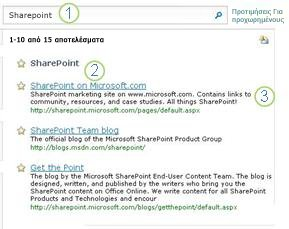 Τρεις Βέλτιστες αντιστοιχίσεις για τον SharePoint Server εμφανίζονται στο επάνω μέρος της σελίδας αποτελεσμάτων αναζήτησης