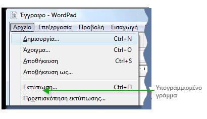 Εικόνα του μενού Microsoft WordPad που εμφανίζει υπογραμμισμένα γράμματα σε εντολές μενού