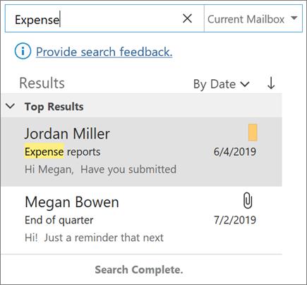 Χρήση της αναζήτησης για εύρεση του ηλεκτρονικού ταχυδρομείου σας στο Outlook