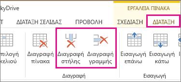 """Εικόνα των εντολών """"Διαγραφή πίνακα"""" και """"Διαγραφή γραμμής"""" στην καρτέλα """"Διάταξη"""" τη κορδέλας """"Εργαλεία πίνακα"""""""