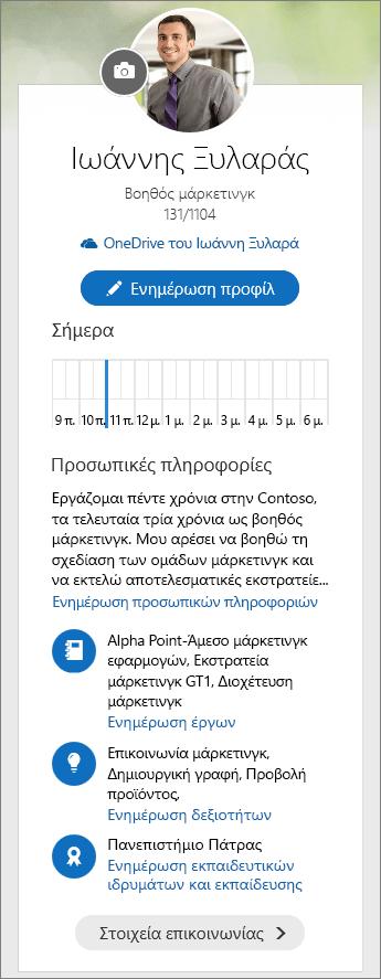 Στιγμιότυπο οθόνης του προεπιλεγμένου περιεχομένου από την περιοχή προσωπικών πληροφοριών του πίνακα επιλογών Delve.