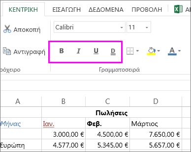 """η ομάδα κουμπιών """"Γραμματοσειρά"""" για χρήση με την αλλαγή στυλ γραμματοσειράς σε ένα κελί"""